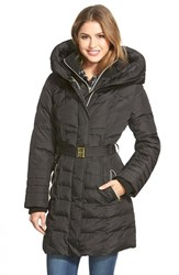 Kensie Women's Belted Hooded Down And Feather Fill Coat Black