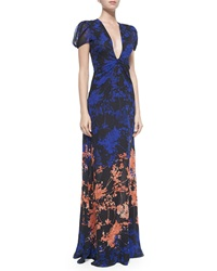 Diane Von Furstenberg Adrienne Twist Front Floral Daze Maxi Dress Black Multicolor