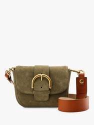J.Crew Suede Buckle Cross Body Bag Frosty Olive