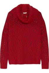 Alice Olivia Otis Open Knit Turtleneck Sweater Claret