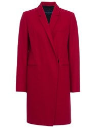 French Connection Platform Felt Long Sleeve Coat Red Sky