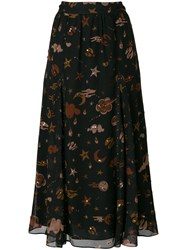 Coach Outerspace Print Skirt Cupro Polyester Black