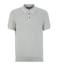 Michael Kors Knitted Contrast Trim Polo Shirt Male Grey