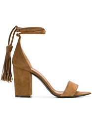 Via Roma 15 Tassle Ankle Tie Sandals Brown
