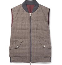 Brunello Cucinelli Reversible Houndstooth Wool And Cashmere Blend Quilted Down Gilet Brown