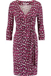 Diane Von Furstenberg Julian Wrap Effect Leopard Print Cotton And Silk Blend Dress Bright Pink