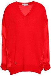 Amanda Wakeley Satin Paneled Cashmere And Wool Bend Top Red