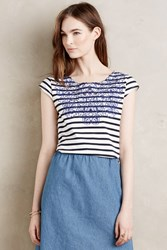 Meadow Rue Palermo Striped Tee Blue Motif