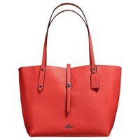 Coach Market Leather Tote Bag Deep Coral