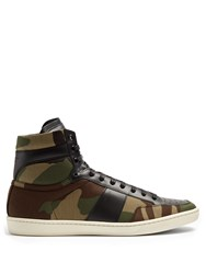 Saint Laurent Court Classic High Top Leather Trainers Green Multi