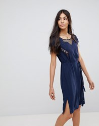Sugarhill Boutique Butterfly Cutwork Embroidered Dress Navy