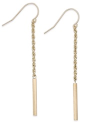 Macy's Rope And Bar Linear Earrings In 14K Gold