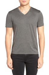 Theory Men's Silk And Cotton V Neck T Shirt Charcoal