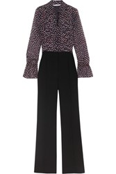 Diane Von Furstenberg Ariella Printed Silk Georgette And Crepe Jumpsuit Black