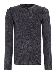Only And Sons Men's Chunky Knit Crew Neck Jumper Dark Navy