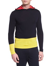 Ralph Lauren Colorblock Knit Hoodie Navy Women's