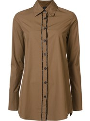 Vera Wang Bead Embellished Button Down Brown