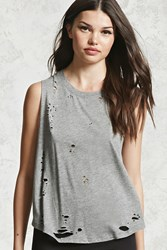 Forever 21 Distressed Raw Cut Tank Top Heather Grey