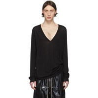 Rick Owens Black Wool V Neck Sweater