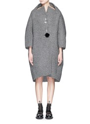 Balenciaga Crown Pin Houndstooth Wool Felt Coat Grey