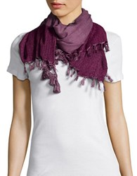 Collection 18 Tassel And Fringed Wrap Purple