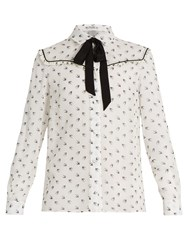 Miu Miu Swallow Print Ruffle Trimmed Silk Blouse White Multi