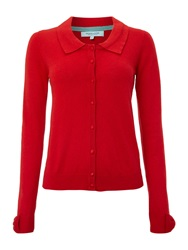 Dickins And Jones Intarsia Bow Cuff Cardigan Red