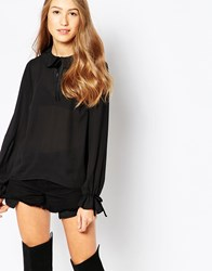 Influence Collared Loose Fit Tie Front Blouse Black