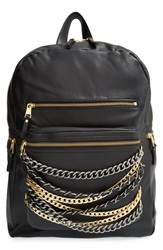 Ash 'Domino' Chain Leather Backpack Black Silver And Matte Gold