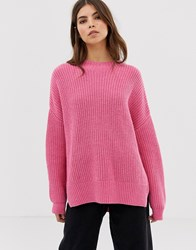 Whistles Chunky Ribbed Oversized Jumper Pink