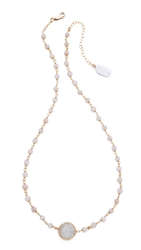 Ela Rae Ara Necklace Pink Opal Pyrite Lab