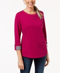 Karen Scott Petite French Terry Roll Tab Sleeve Top Cranberry Rose