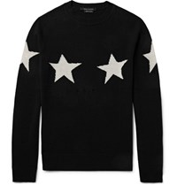 Marc Jacobs Slim Fit Distressed Star Intarsia Wool And Cashmere Blend Sweater Black