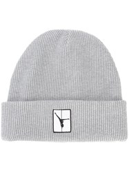 Alexander Wang Flipped Girl Patch Beanie Men Cotton One Size Grey