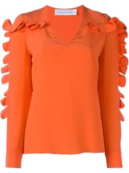 Victoria Beckham Ruffled Detail Blouse Yellow And Orange
