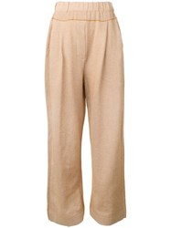 Boboutic Drop Crotch Straight Trousers Women Cotton Linen Flax Polyamide L Brown