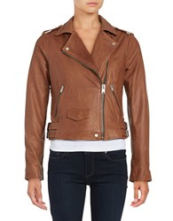 Andrew Marc New York Asymmetrical Zip Front Moto Jacket Brown