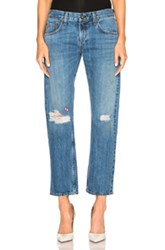 Rag And Bone Jean X Boyfriend Embroidered In Blue