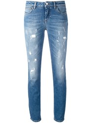 Dolce And Gabbana Distressed Skinny Jeans Women Cotton Leather Spandex Elastane 38 Blue