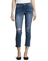 Democracy Cropped Distressed Pants Blue