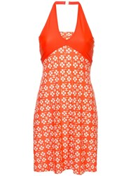 Chanel Vintage Printed Halterneck Dress Orange