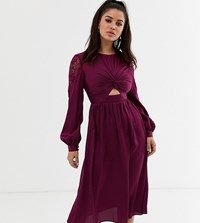 Little Mistress Petite Satin Midi Dress With Cut Out Waist In Mulberry Pink