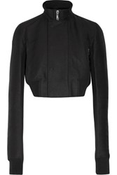 Rick Owens Cropped Wool Trimmed Faille Biker Jacket Black