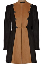 Alice Olivia Cohen Two Tone Wool Blend Coat Brown