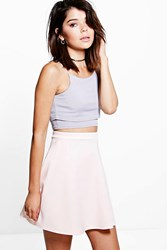 Boohoo Fit And Flare Skater Skirt Nude