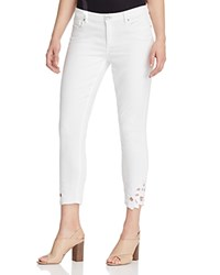 Elie Tahari Azella Skinny Lace Cuff Cropped Jeans In White
