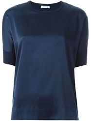 P.A.R.O.S.H. Crew Neck Short Sleeve Blouse Blue