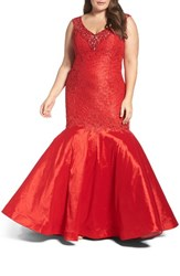 Mac Duggal Plus Size Women's Embellished Lace And Taffeta Mermaid Gown