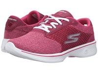 Skechers Go Walk 4 Exceed Raspberry Women's Lace Up Casual Shoes Pink