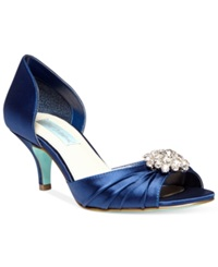 Blue By Betsey Johnson Stun Low Heel Evening Pumps Women's Shoes Navy